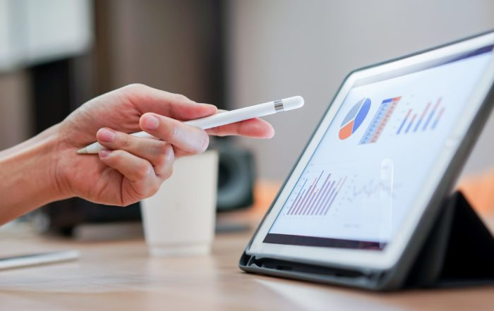 financial information on tablet