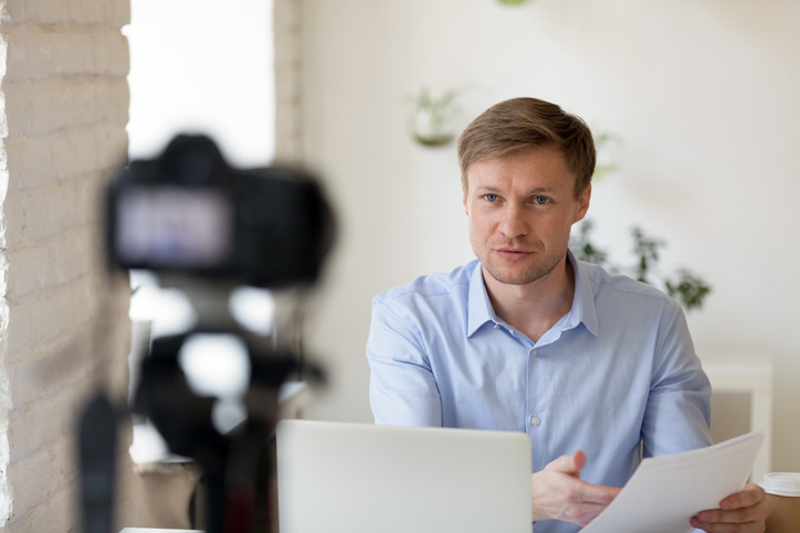 young professional making a video